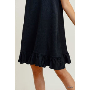 Satin Sleeveless Ruffle Hem Dress