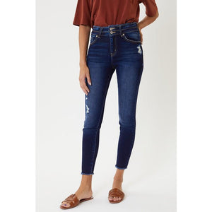 High Rise Double Button Skinny Jeans W/ Frayed Hem