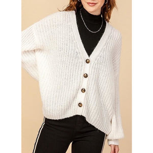 Long Sleeve Chunky Knit Button Down Cardigan Sweater