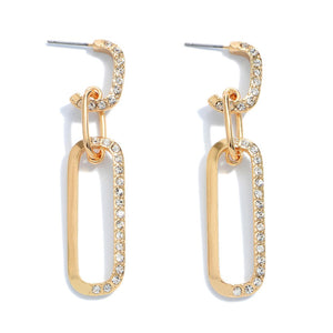 Rhinestone Chain Link Drop Hoop Earrings