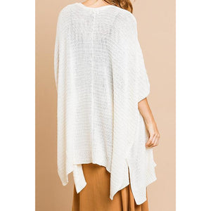 Short Sleeve Knit Sweater Cardigan W/ Side Slits