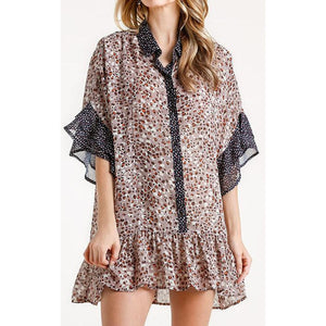 Layered Ruffle Sleeve Animal Print Button Down Tunic/Dress W/ Ruffle Hem & Gold Flake Details