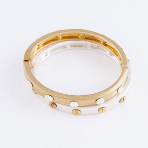 Metal Hinge Bangle Bracelet w/Stud Accents