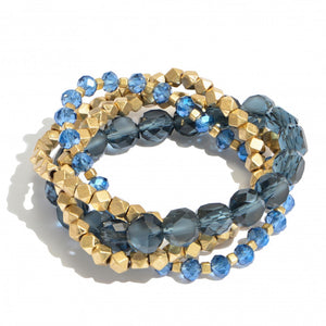 4 Piece Faceted Beaded Stretch Set