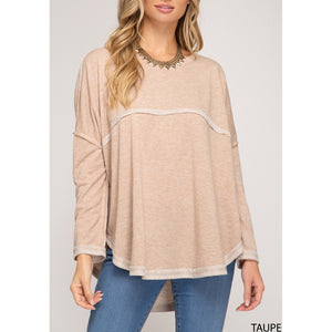 Terry Knit Raw Hem Top