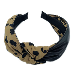 Knotted Half Animal Print Half Faux Lthr Headband