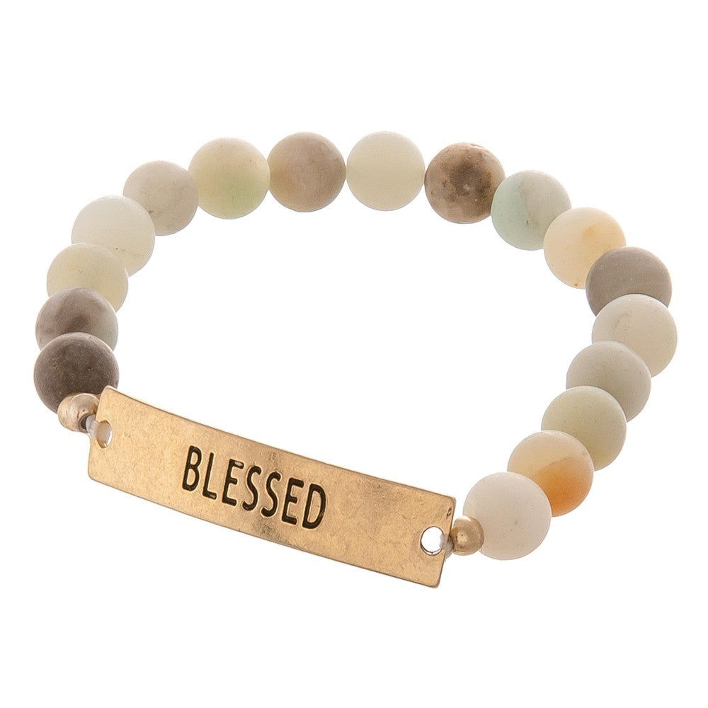 Blessed Engraved Stretch Bracelet