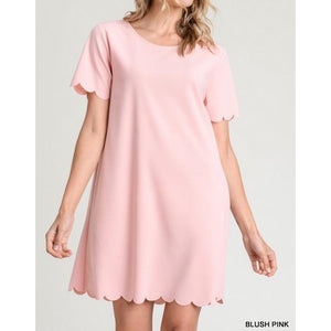 Short Scallop Sleeve Dress W/ Scallop Hem