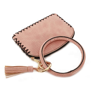Vegan Leather Key Ring W/ Wallet Attachment