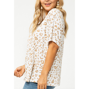 Short Sleeve V Neck Leopard Top