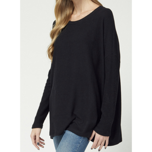 Ribbed Sleeve Scoop Neck Top