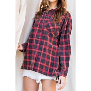 Vintage Plaid Button Down Shirt