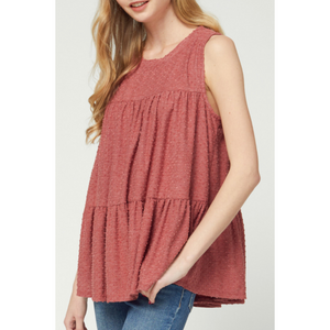Swiss Dot Sleeveless Babydoll Top