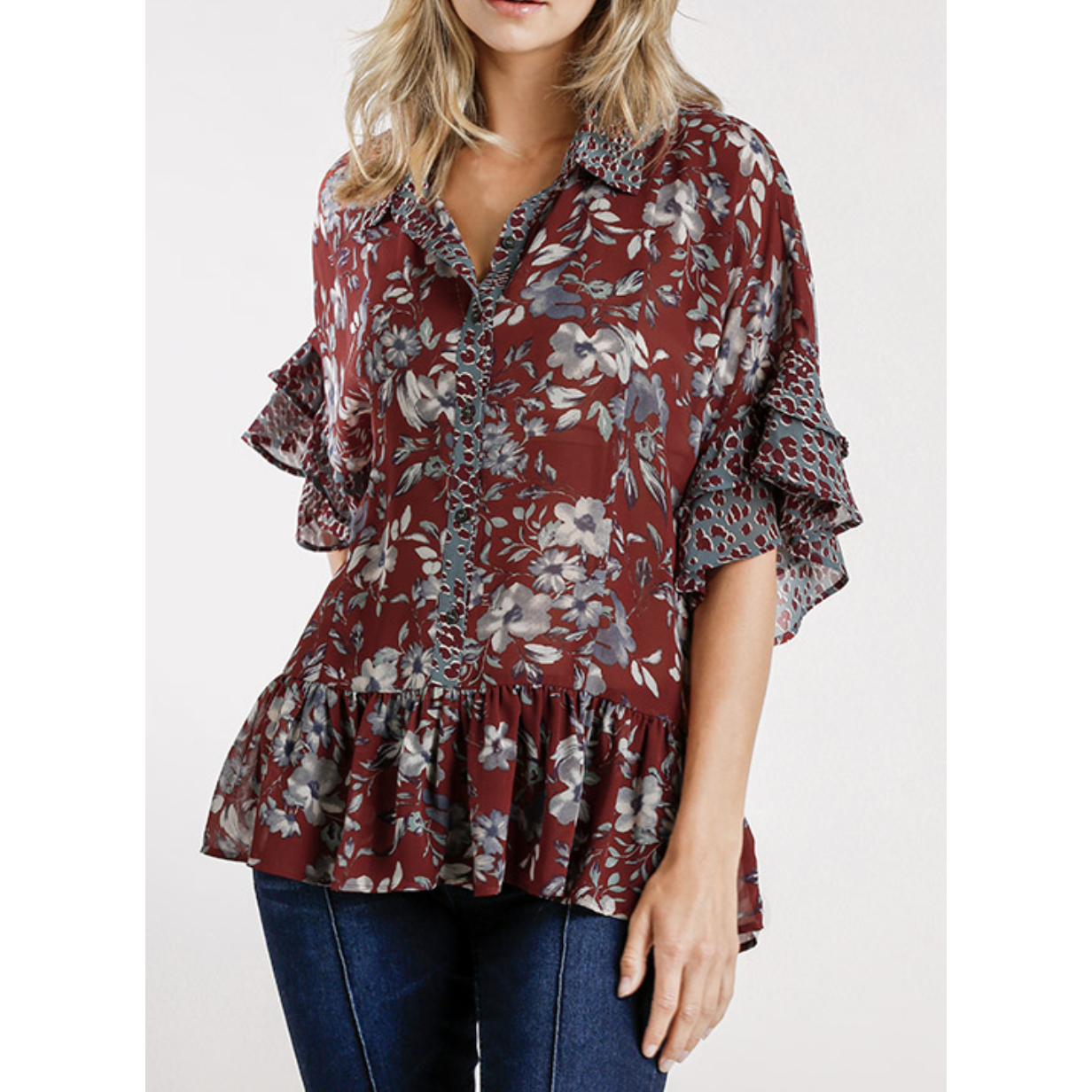 Mix Print Blouse