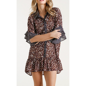 Layered Ruffle Sleeve Animal Print Button Down Tunic Dress W/ Ruffle Hem & Gold Flake Details