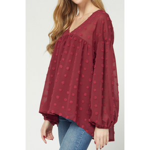 Swiss Dot Babydoll Blouse