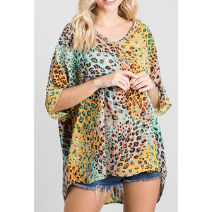 Short Dolman Sleeve V Neck Colorful Leopard Print Boxy Top