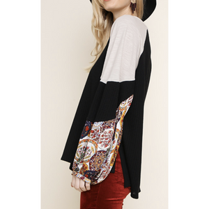 Long Floral Puff Sleeve Waffle Knit Top