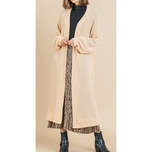Long Puff Sleeve Waffle Knit Duster Cardigan