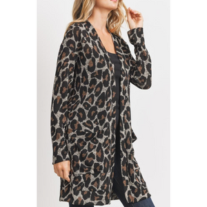 Long Sleeve Leopard Print Knit Cardigan W/ Side Pockets