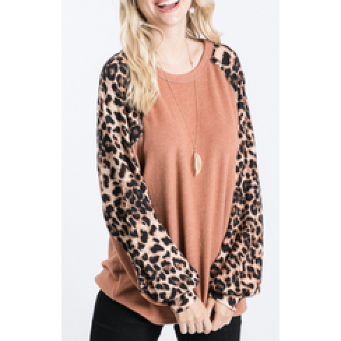 Leopard Sleeve Top