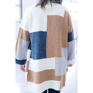 Colorblock Cardigan W/ Pockets