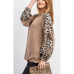 Long Bubble Leopard Print  Sleeve Two Tone Hacci Knit Pullover Top