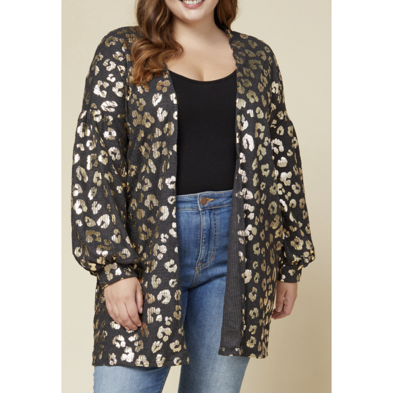 Metallic Cheetah Print Cardigan