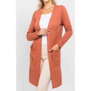 Long Sleeve Super Soft Duster Cardigan W/ Patch Pockets