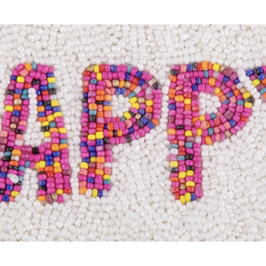 Happy Seed Beaded Canvas Pouch