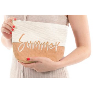 "Two Tone Raffia Paper ""Summer"" Travel Pouch"