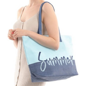"Two Tone ""Summer"" Wicker Tote"