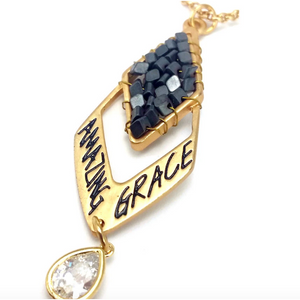 Matte Gold Amazing Grace Diamond Pendant Necklace