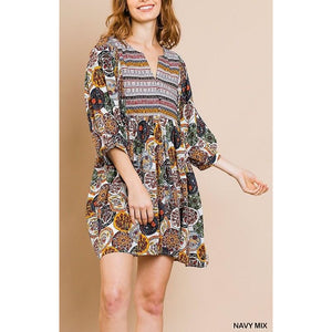 Medallion Scarf Print Dress