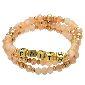 3 Piece Inspirational Block Letter Beaded Stretch Set