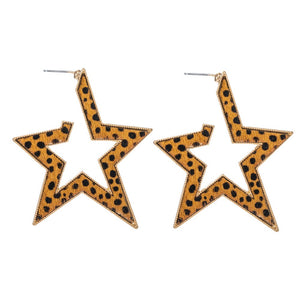 Metal Encased Leather Animal Print Star Hoop