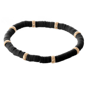 Rubber Heishi Beaded Stretch w/Gold Bead Accents