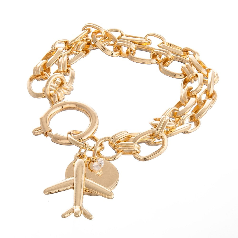 Chain Link Layered Airplane Charm