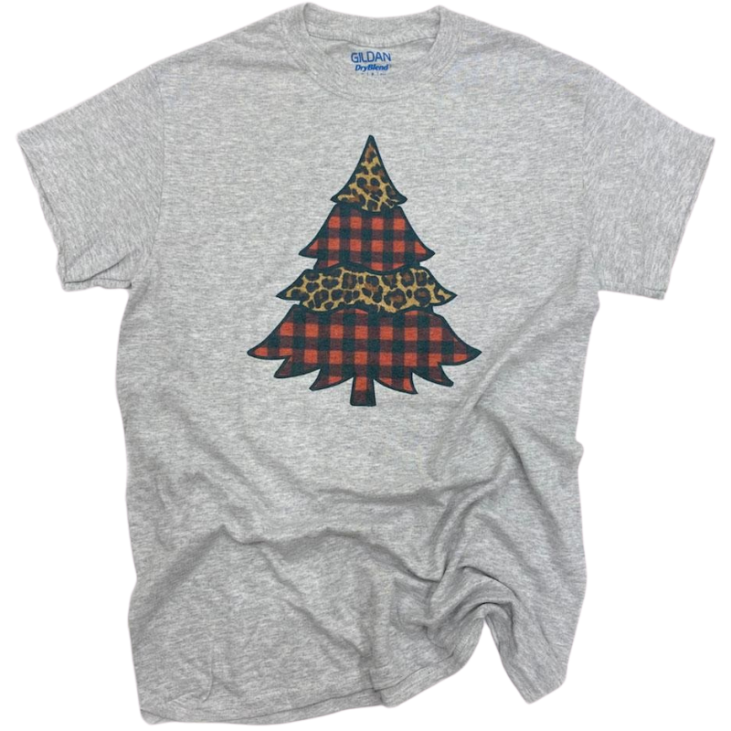 Plaid Leopard Christmas Tree Tee