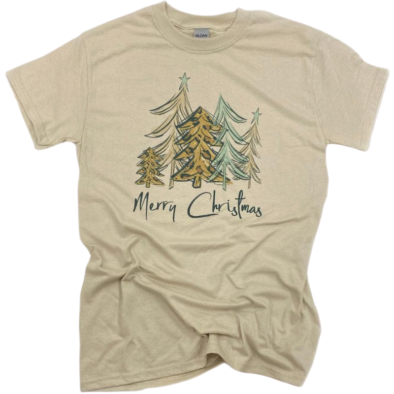 Blue Leopard Merry Christmas Tree Tee