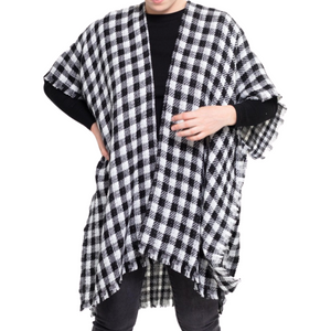 Reversible Buffalo Check/Houndstooth Kimono w/Frayed Trim