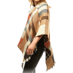 Multicolor Plaid Print Poncho