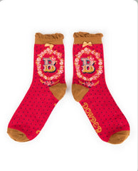 Alphabet ankle sock B