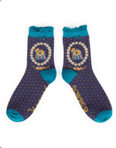 Alphabet ankle sock R