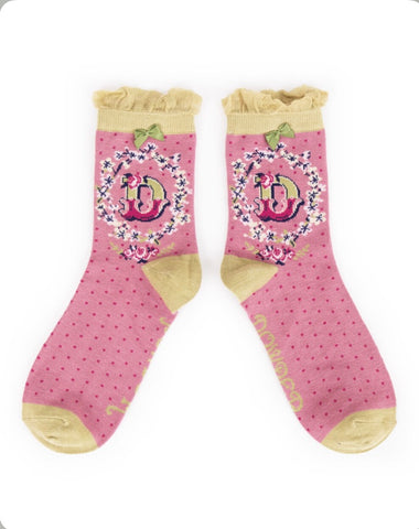 Alphabet ankle sock D