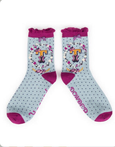Alphabet ankle sock T