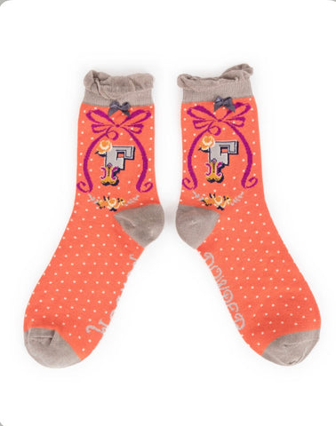 Alphabet ankle sock F