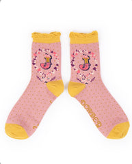 Alphabet ankle sock J