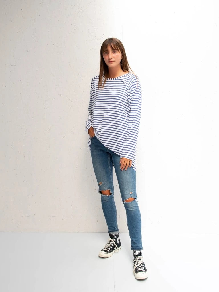 Chalk uk Robyn Top Light Blue Stripe