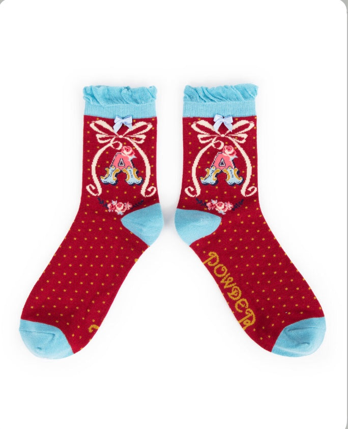 Alphabet ankle socks A